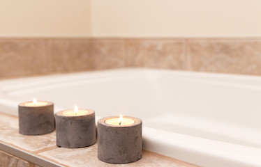 Three candles decorating bathroom