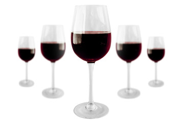 5 Wineglasses with burgundy red wine