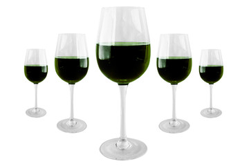 5 red Red wine in wineglass isolated on white background