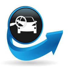 Fototapete - contrôle technique automobile sur bouton flêche bleue