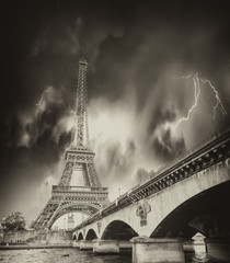 Wall Mural - Storm above Eiffel Tower in Paris