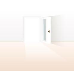 開いている白いドア
