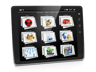 Tablet PC with a gallery of images. Tablet closeup view gallery