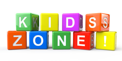 Cubes with Kids Zone sign