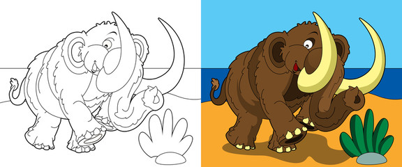 Foto op Textielframe Doe het zelf The coloring page - happy mammoth
