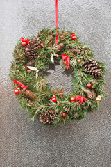 Christmas wreath on door.