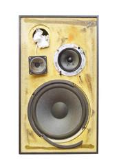 Grungy speaker, isolated on white background