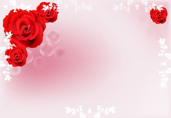 four red rose flowers on light pink background
