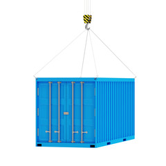 Cargo Container with a Hook isolated on white background