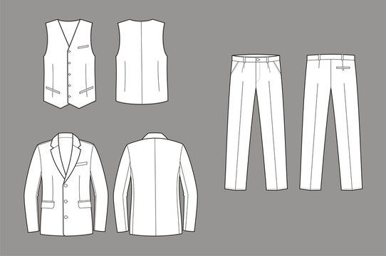 Vector illustration of men's business suit: coat, vest, pants