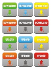 colorful upload and download buttons