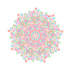 Colorful Mandala Element with Heart and Flower Silhouettes