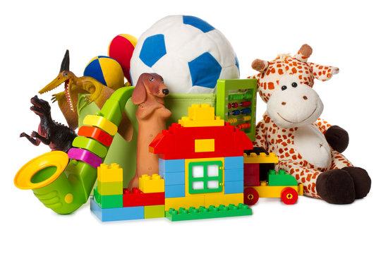 children toys isolated on white