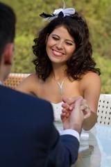 Happy young bride smiling