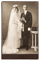 vintage wedding photo. just married couple