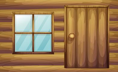 Window and door of a wooden room