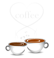 two cups of coffee and hearts