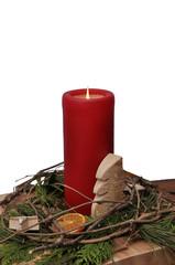 Adventskerze / Weihnachtlicher Schmuck, freigstellt