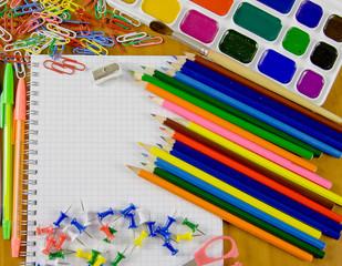 bright school belonging, office commodities