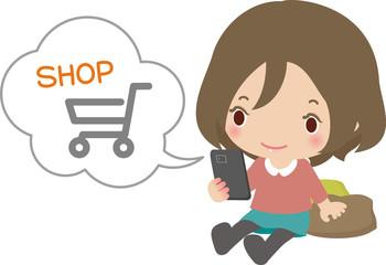 スマートフォンでオンラインショッピングする女性