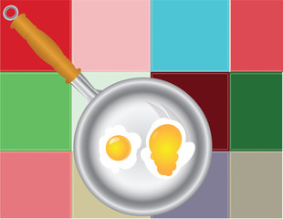 Colored squares with fried eggs