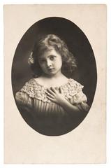 vintage nostalgic portrait of little girl
