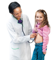 Lady Doctor With little girl