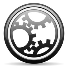 gears black glossy icon on white background