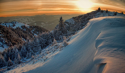 mountain sunset landscape in winter