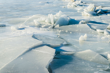 Fragments of ice frozen sea