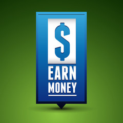Earn money badge pointer blue
