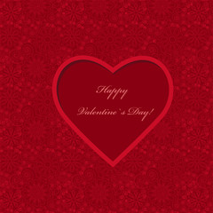 Red paper heart on ornate background