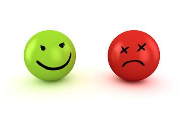 Sad and happy emoticons