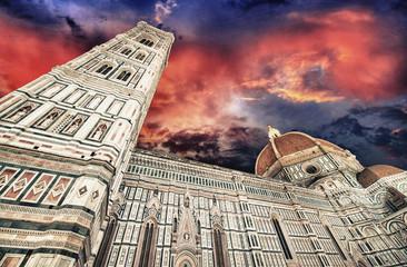 Beautiful sky colors over Cathedral Church. Duomo, Basilica di S