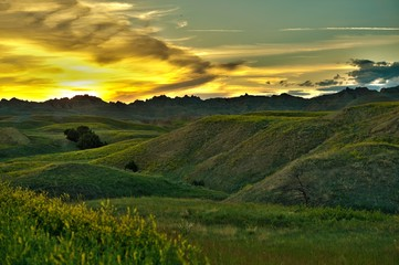Wall Mural - Badlands Sunset Scenery
