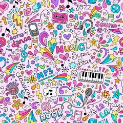 Music Seamless Pattern Doodles Vector Design