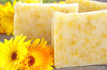 Home-made soap with marigold (Calendula officinalis)