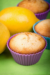 Fresh muffins with lemon