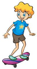 A boy playing skateboard