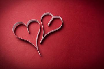 two valentine's paper hearts , valentine's day , day valentine