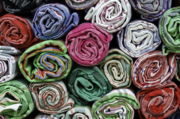 Pile of colorful cotton towels