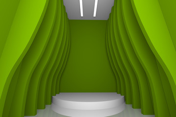Empty room with abstract green wall