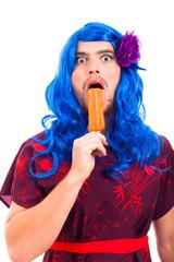 Bizarre transvestite with ice pop