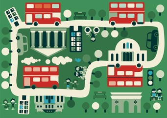 Door stickers On the street cartoon map of London with double decker