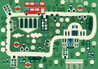 Printed roller blinds On the street cartoon map of London