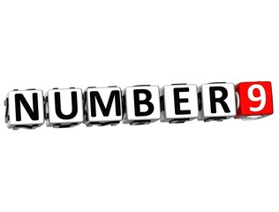 3D Number Button Click Here Block Text