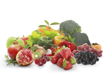 fruit and vegetables isolated on white background