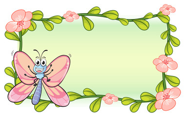 A butterfly and a flower plant frame