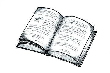 Drawing / Illustration of an opened book.
