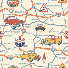 Fotobehang Op straat Cute route map seamless pattern